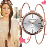Unique Fashion Brand Quartz Watch Women Female Dress Girls Bracelet Bangle Casual Double Ring Steel Wristwatch