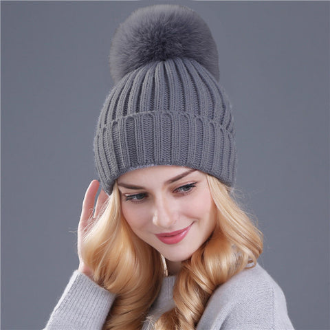 ca1a475ca Real fox fur pom poms ball Keep warm winter hat for women wool hat knitted  beanies cap thick female cap