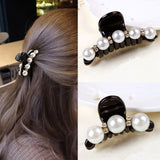 1 Pc Women Fashion Black Crystal Pearl Hair Clip Claw Hair Accessories