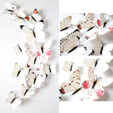 12pcs Sticker Art Design Decal Wall Stickers Home Decorations 3D Butterfly White