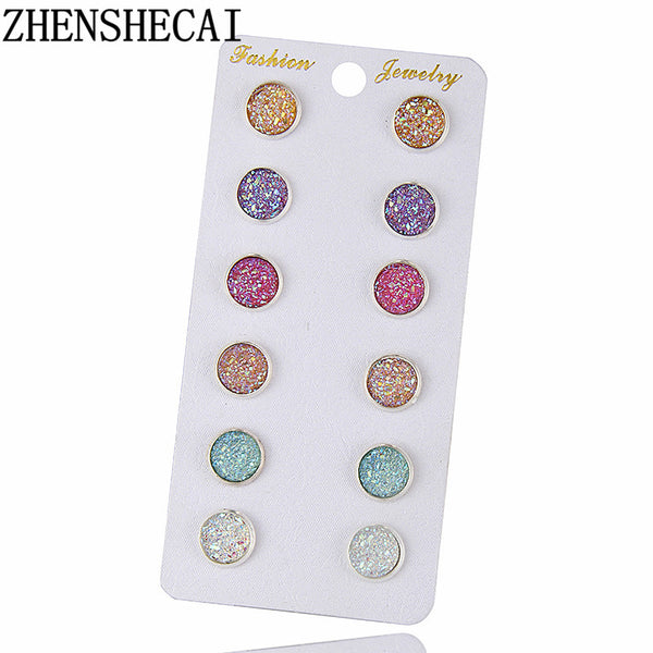 Fashion Crystal Rhinestone Stud Earrings for Women Mixed, 6 Colors