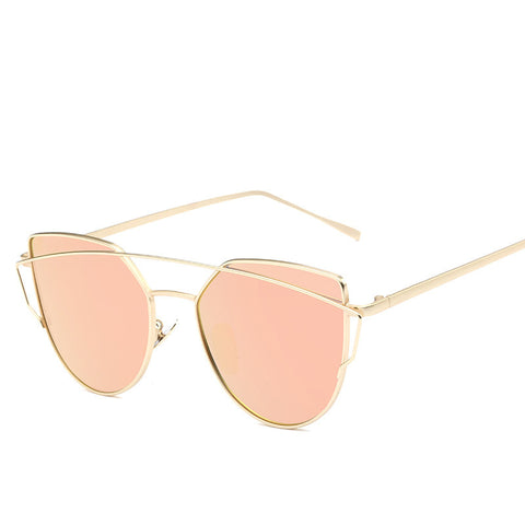Cat eye Women Sunglasses Design Mirror Flat Rose Gold Vintage Cateye Fashion sun glasses lady Eyewear UV400
