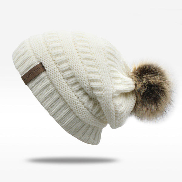 f305f0b60ce8e1 Double layer fur ball cap pom poms winter hat for women hat knitted be –  Luxberra