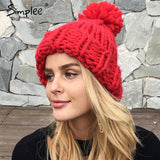 Simplee Knitting wool ball skullies beanies Casual streetwear warm hat cap Women autumn winter cute beanie hat female