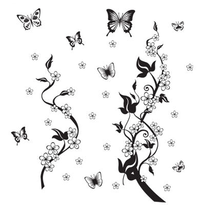 Sticker on the fridge black butterfly vine flower wall stickers kitchen decoration decals