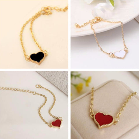 Fashion Red Love Heart Metal Gold Color Bracelets For Women Bracelets & Bangles Best Gift Party Wedding Jewelry