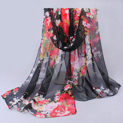Wonderful flower long soft scarfs wrap shawl for elegant women han edition scarf shawls
