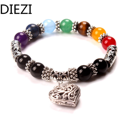 DIEZI Men Women 7 Chakra Bracelets Bangles Colors Mixed Healing Crystals Stone Chakra Pray Mala Heart Charm Bracelet Jewelry