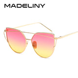 MADELINY Brand Designer Cat Eye Sunglasses Mirror Fashion Eyewear