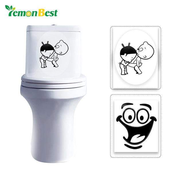 LemonBest 1pcs Bathroom Wall Stickers Toilet Home Decoration Waterproof Wall Decals For Toilet Sticker Decorative Home Decor