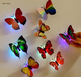 10 PCS 3D Wall Stickers Lifelike Butterfly Powered LED Lights Wall Stickers 3D House Decoration, Battery Included