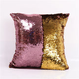 BeddingOutlet DIY Mermaid Sequin Cushion Cover Magical Pink Throw Pillowcase 40cmX40cm Color Changing Reversible Pillow Case