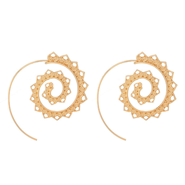 Ethnic Personality Round Spiral Drop Earrings Exaggerated Love Heart Whirlpool Gear Earrings for Women Jewelry
