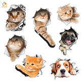 PVC 3D Cartoon cat/dog Wall Sticker Decals Home DIY Decor Wall For Living Room Bedroom Kitchen Children's Room Decorations