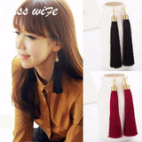 KISS WIFE Tassel Drop Earrings  Black vintage tassel earrings long Big Dangle Earrings Female