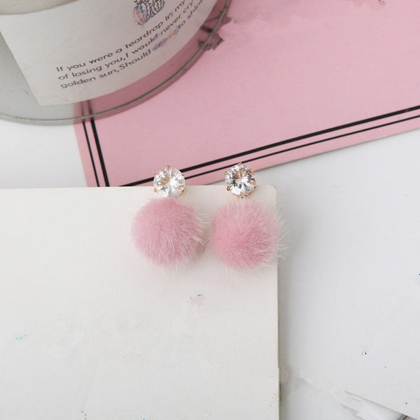 Short paragraph earrings personality wild simple brown hair ball womans earrings