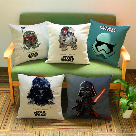 Awe Inspiring Cartoon Cotton Linen Star Wars Decorative Cushion Cover Sofa Throw Pillow Cover Case Chair Car Home Living Room Decoration T Creativecarmelina Interior Chair Design Creativecarmelinacom