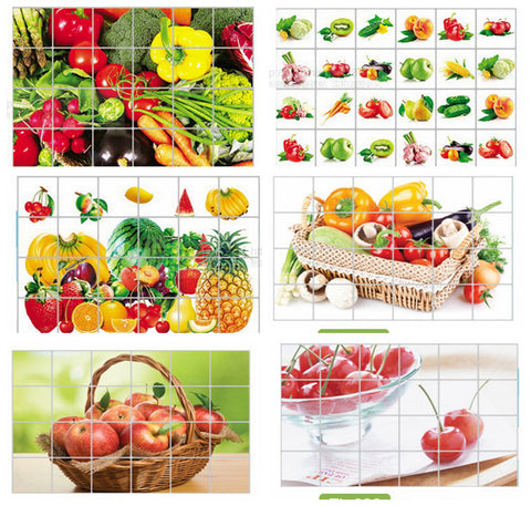 Sticker Kitchen aluminum foil waterproof decorative stickers home decor wall stickers food bread, fruit, juices, milk