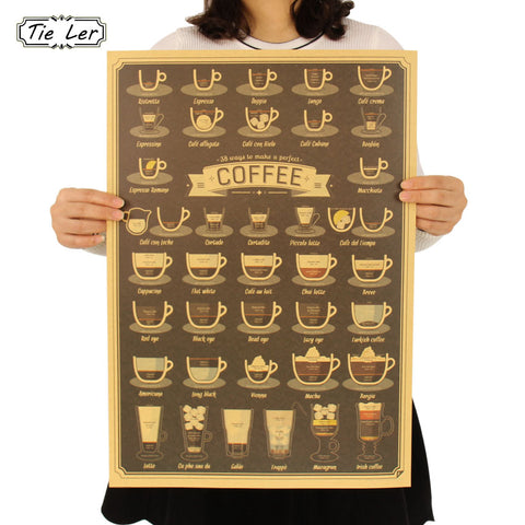 Coffee Cup Poster Bars Kitchen Drawing Poster Adornment Vintage Poster Retro Wall Sticker  51.5X36cm