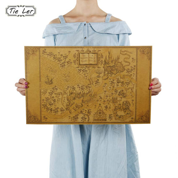Map of The Wizarding World of Harry Potter Movie Posters Decoration Frameless Restoring Ancient Ways Wall Stickers 33*51CM