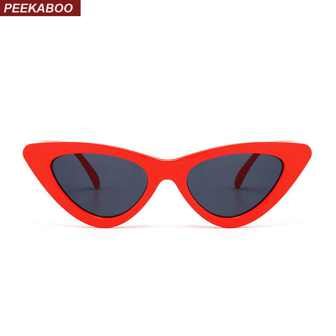 Peekaboo sexy retro cat eye sunglasses women small black white triangle vintage sun glasses red female uv400