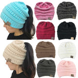 CC Ponytail Beanie Hats For Women Winter Skullies Beanies Caps Female Knit Warm Stylish Hat For Ladies Fashion Girls Knitted Cap
