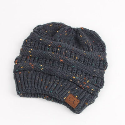 a64e1bc6e2f ... CC Ponytail Beanie Hats For Women Winter Skullies Beanies Caps Female  Knit Warm Stylish Hat For ...
