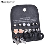 Marte&Joven Style Rhinestone Stud Earring Set For Women Cute Flower Mixed Imitation Pearl Earring Sets 9 Pairs