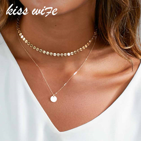 Fashion Gold Coin Layered Necklace Set For Women Charm Choker Necklace
