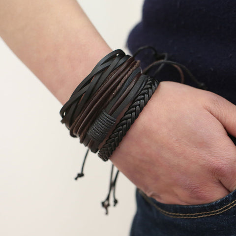 Bracelets & Bangles mens leather bracelets Masculine Jewelry Charm Bileklik Pulseiras Boyfriend Girlfriend