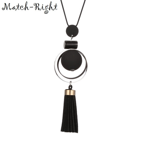 Match-Right Women Necklace Long Necklaces & Pendants Wood Beads Sweater Necklace For Women Jewelry