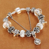 SPINNER European Style Vintage Silver plated Crystal Charm Bracelet Women fit Original DIY Pandora Bracelet Jewelry Gift