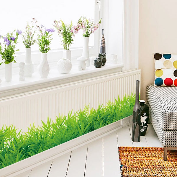 3D Fresh green grass baseboard PVC Wall Stickers Skirting kids living Room bedroom Bathroom Kitchen nursery balcony home decor