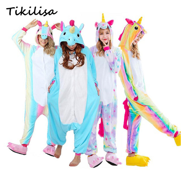 Adults Animal Pajamas Sets Cartoon Sleepwear Winter Flannel Panda Unicorn Pajamas