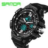 Sanda Fashion Watch Men Waterproof LED Sports Military Watch Shock Resistant Men's Analog Quartz Digital Watch