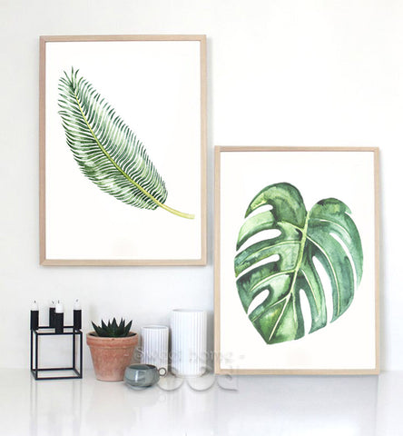 Watercolor Tropical Leaf Canvas Art Print Poster,  Wall Pictures for Home Decoration, Giclee Wall Decor
