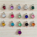12pcs/lot mixed Birthstone charms 11mm Acrylic for DIY Personalized Necklace and Bracelet