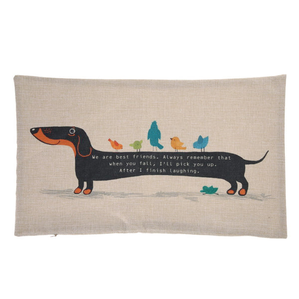 Dachshund Dog Cushion Cover Sausage Dog Puppy Pillow Case Pillow Cover Dog Cushion Covers Sofa Thick Cotton Linen Pillow 30X50cm