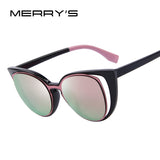 MERRY'S Fashion Cat Eye Sunglasses Women Brand Designer Retro Pierced Female Sun Glasses UV400
