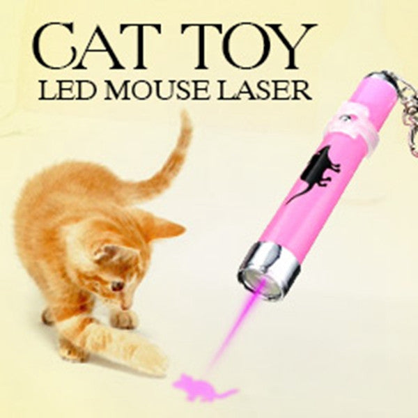 Creative and Funny Pet Cat Toys LED Laser Pointer light Pen With Bright Animation Mouse Random Color