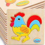 1pcs colorful Kids Wooden Animals Cartoon Picture Puzzle Kids Baby Educational Toys train children newborn early development