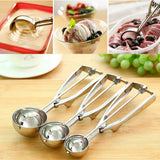 Kitchen Ice Cream Mash Potato Scoop Stainless Steel Spoon Spring Handle Kitchen Accessories 3 sizes to choose