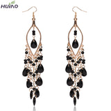 Earings Women Sterling Jewelry Peacock Shape Long Tassel Drop Earrings
