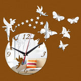 Wall Stickers Home Decor Poster Diy Europe Acrylic Large 3d Sticker Still Life Wall Clock Butterflies