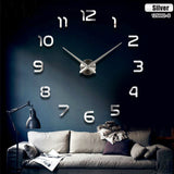 Fashion 3D big size wall clock mirror sticker DIY living room decor meeting room wall clock