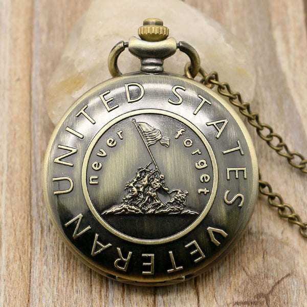 Never Forget The History, Retro Bronze Pocket Watch With Chain, United States Veterans