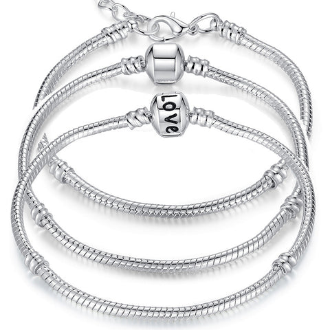 5 Style Silver Plated LOVE Snake Chain Bracelet & Bangle 16cm-21cm
