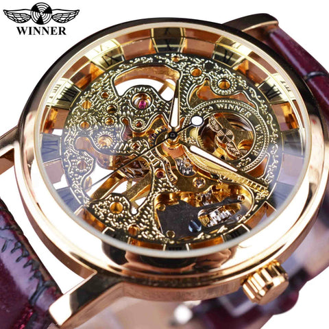 Winner Royal Carving Skeleton Brown Leather Strap Transparent Thin Case Skeleton Design Watch Men Luxury Brand Clock