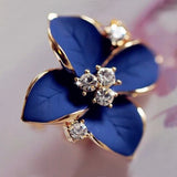 Elegant noble blue flower ladies gold plated rhinestone earrings piercing for women