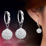 Quality Luxury Super Flash Full Bling Crystal Shamballa Princess Ball 925 Sterling Silver Women Stud Earrings Party Jewelry